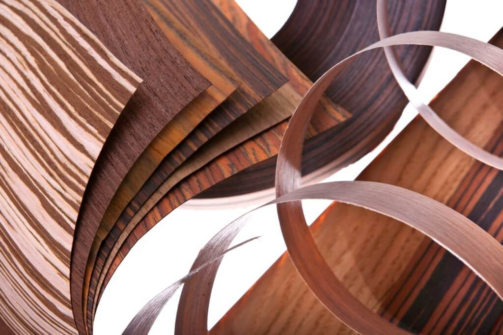 amostras de vários tipos de madeira