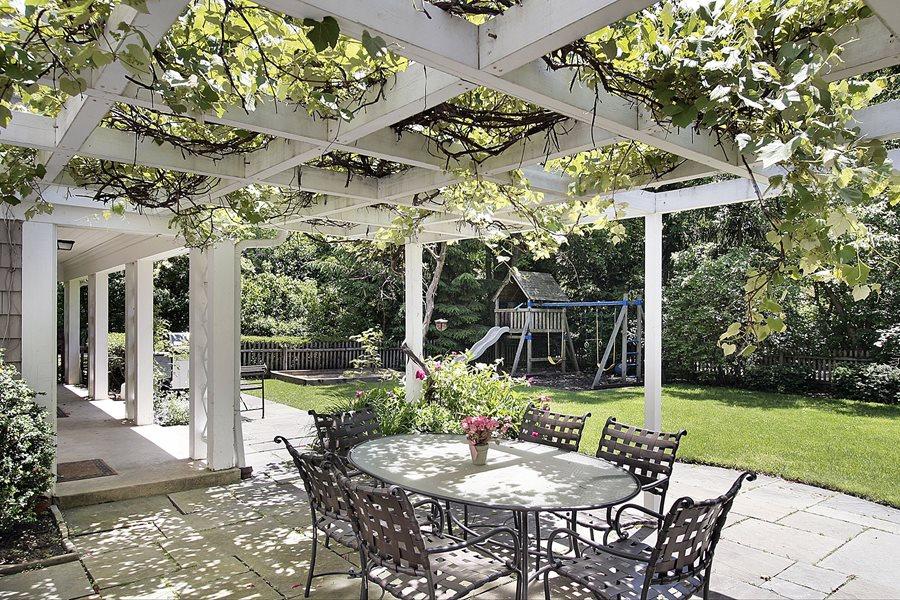 pergolado coberto por plantas numa varanda decorada com mesa e dadeiras