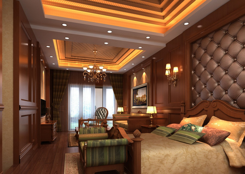 luxuoso quarto com a decoração toda em madeira